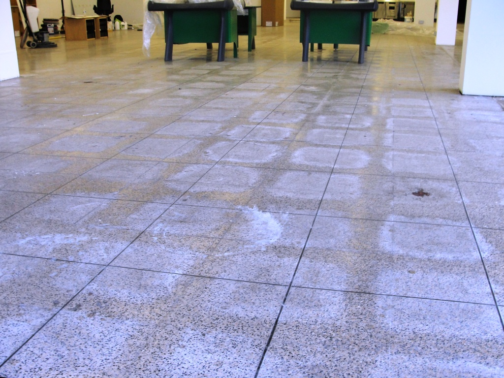 Terrazzo Tiles Dagenham Food Hall Before Cleaning