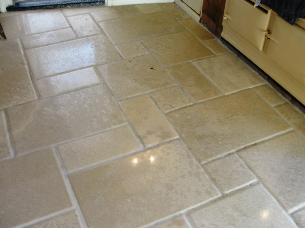 Travertine Tiles in Dunmow Office After Cleaning