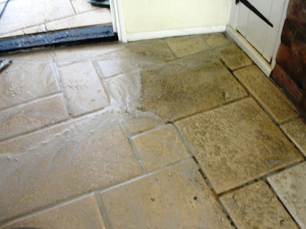 Travertine Tiles in Dunmow Office During Cleaning