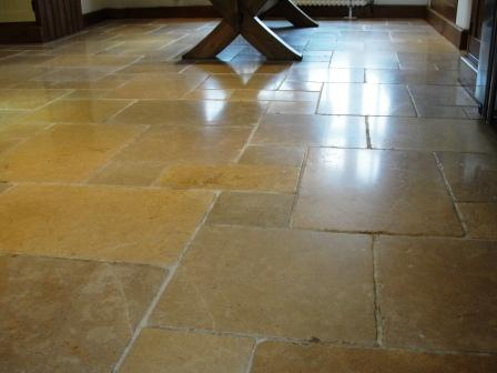Flagstone-Floor after cleaning and sealing