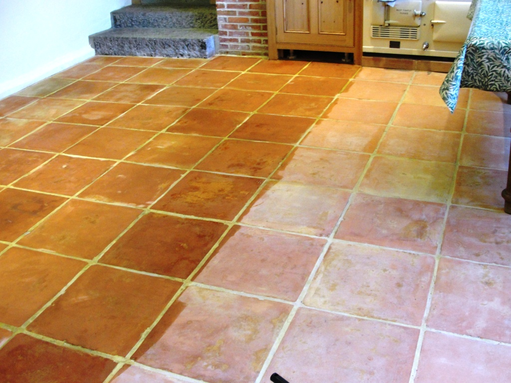 Saltillo Terracotta Tiled Floor Cleaned And Sealed In Abridge South Essex Tile Doctor