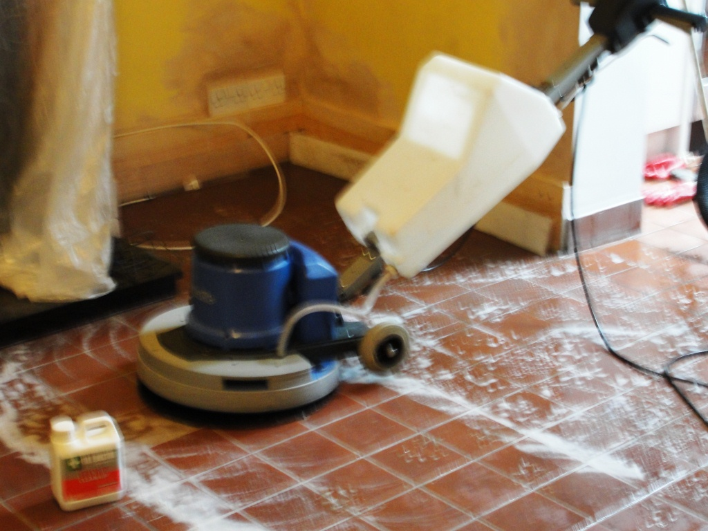 Quarry Tile During Cleaning