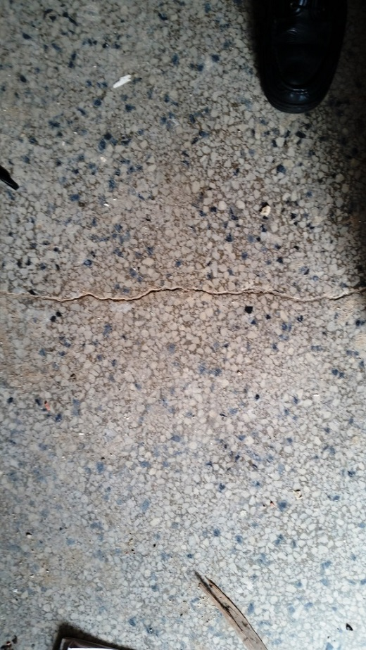 Cracked Terrazzo floor Before Repair Southend