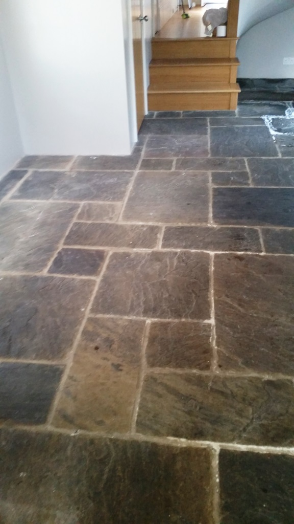 Flagstone Floor Before Cleaning Maldon