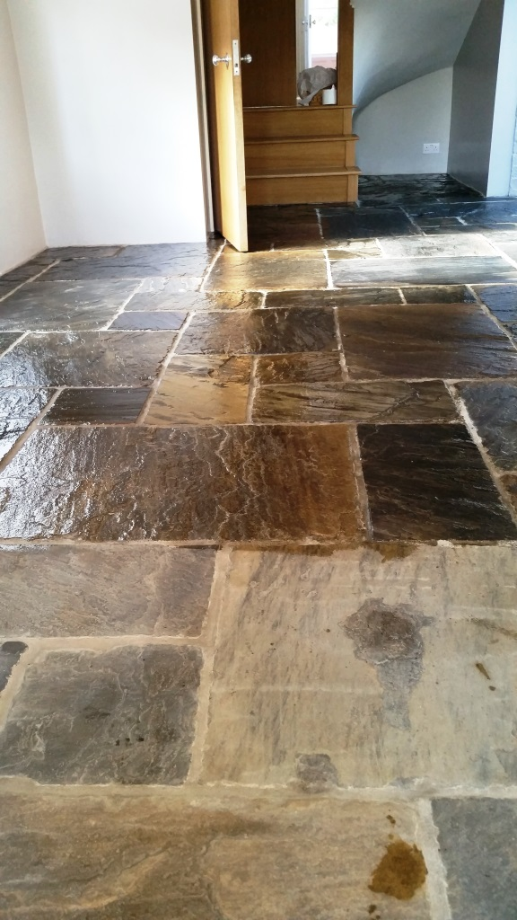 Flagstone Floor During Sealing Maldon
