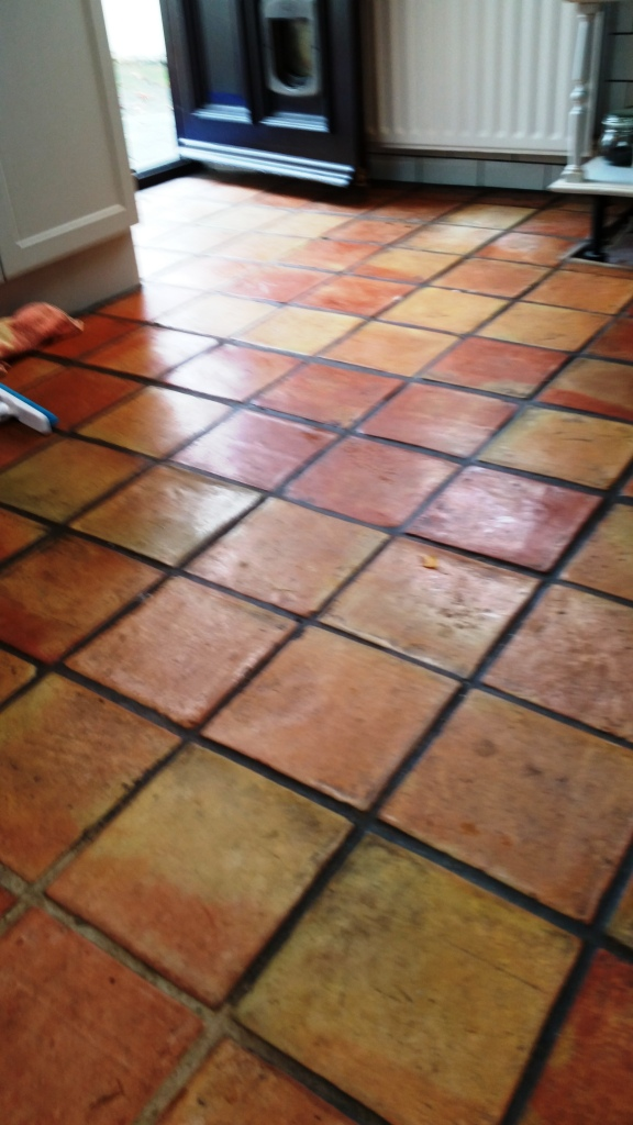 Terracotta Tile Before Cleaning Wickford