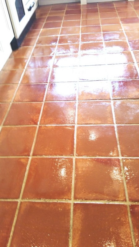 Terracotta Kitchen Floor After Cleaning and Sealing Wickford