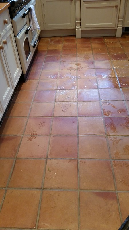 Terracotta Kitchen Floor During Cleaning Wickford