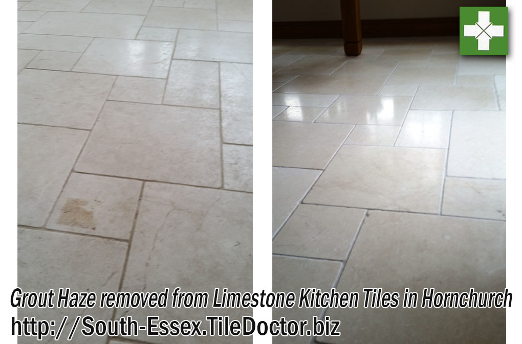 Limestone tiles before and after grout haze removal in Hornchurch