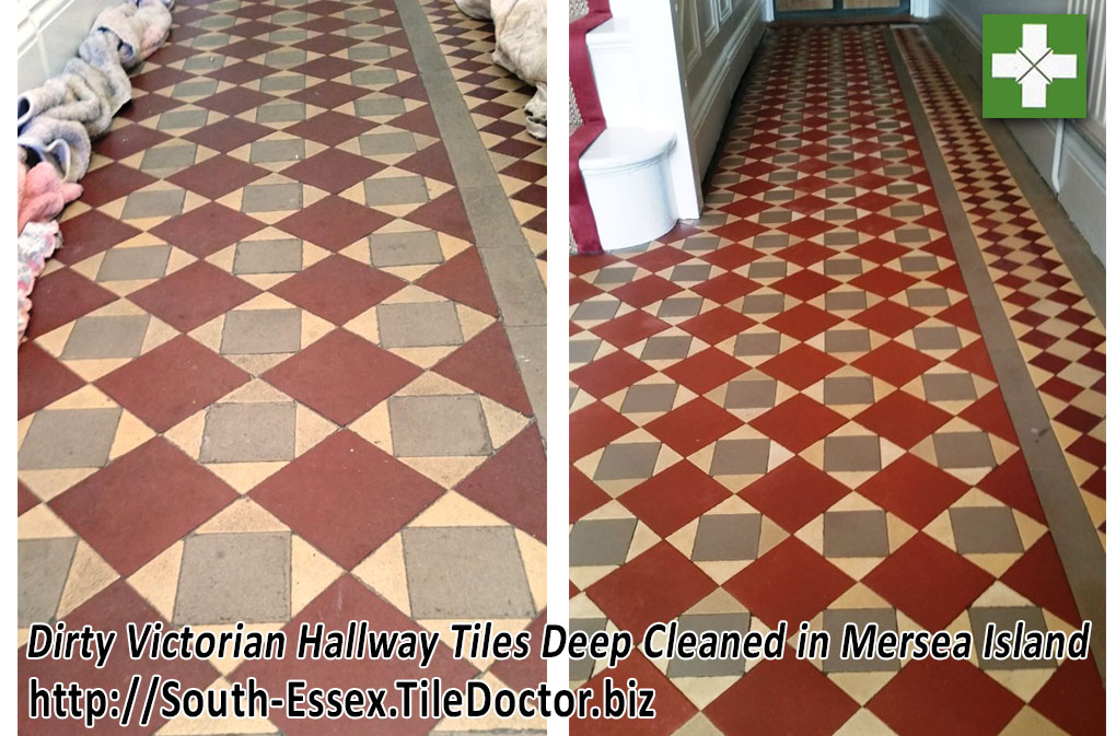 Victorian floor tiles before and after cleaning in Mersea Island
