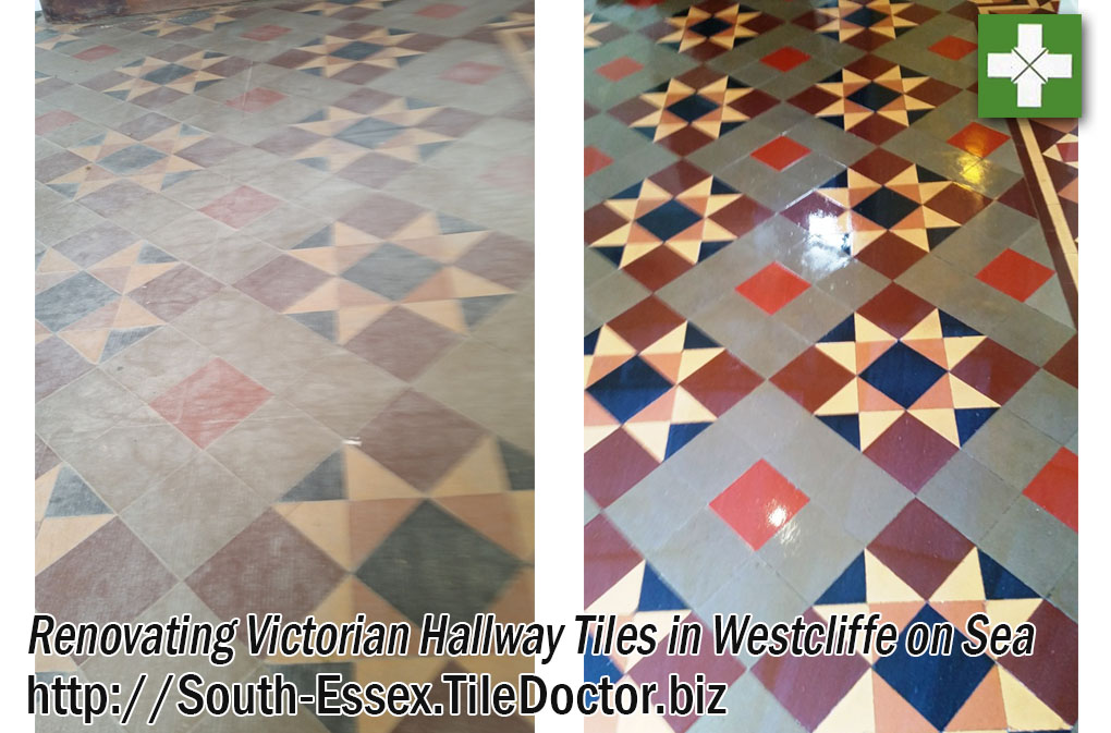 Victorian hallway tiles before and after renovation in Westcliffe on Sea